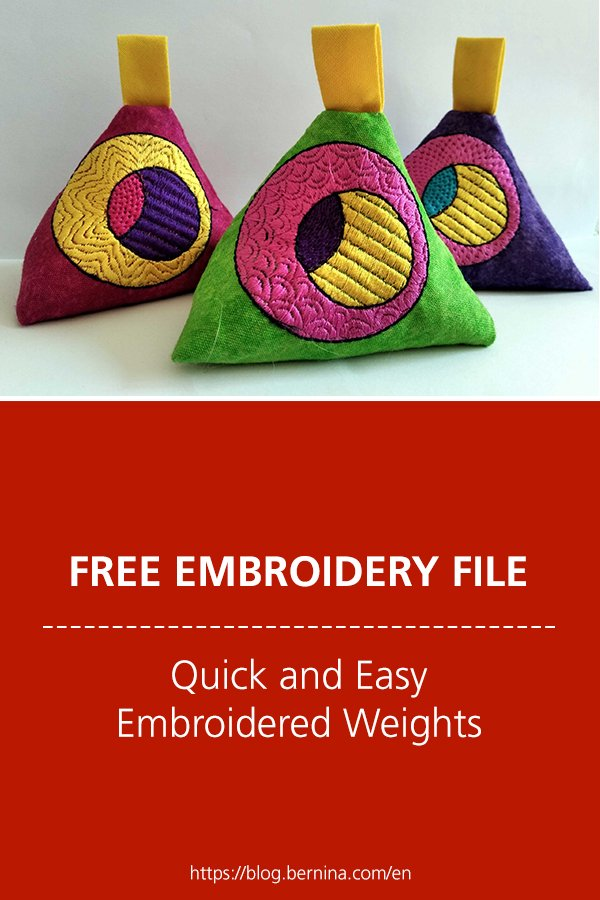 Free in the hoop embroidery design: Quick and Easy Embroidered Weights