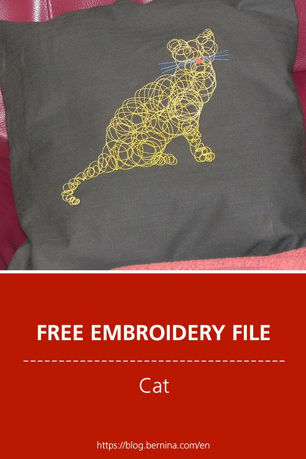 Free embroidery pattern: Cat