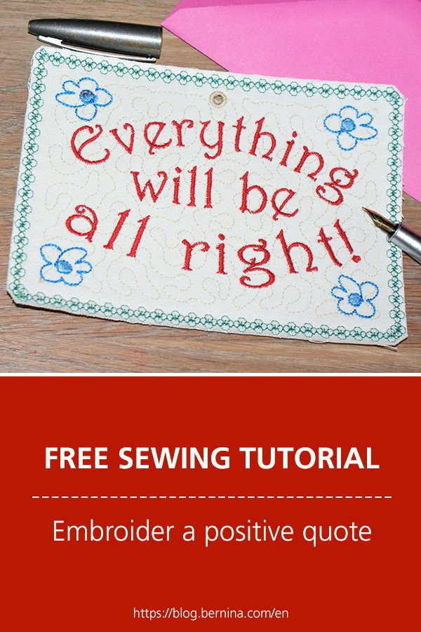 Free embroidery pattern: Embroider a positive quote