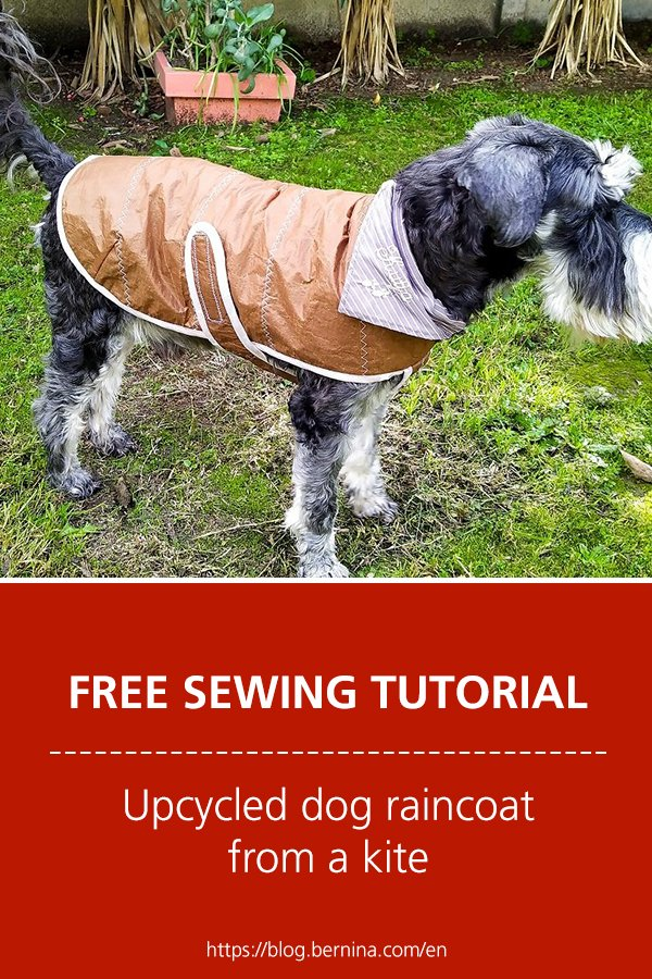 Upcycled dog raincoat from a kite