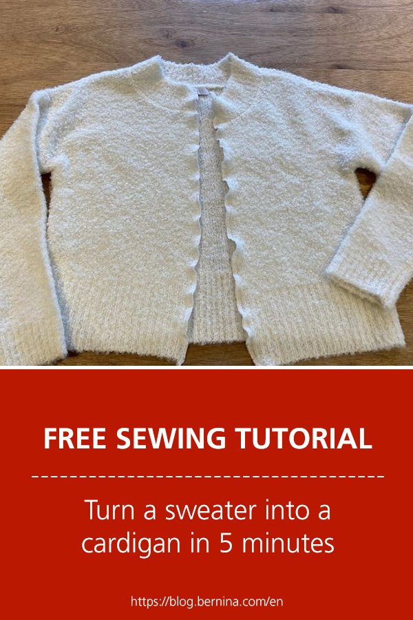 Free sewing instructions: Turn a sweater into a cardigan in 5 minutes