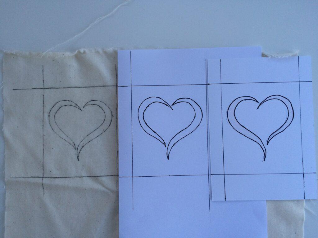 Patroon van het hartje in spiegelbeeld overtrekken