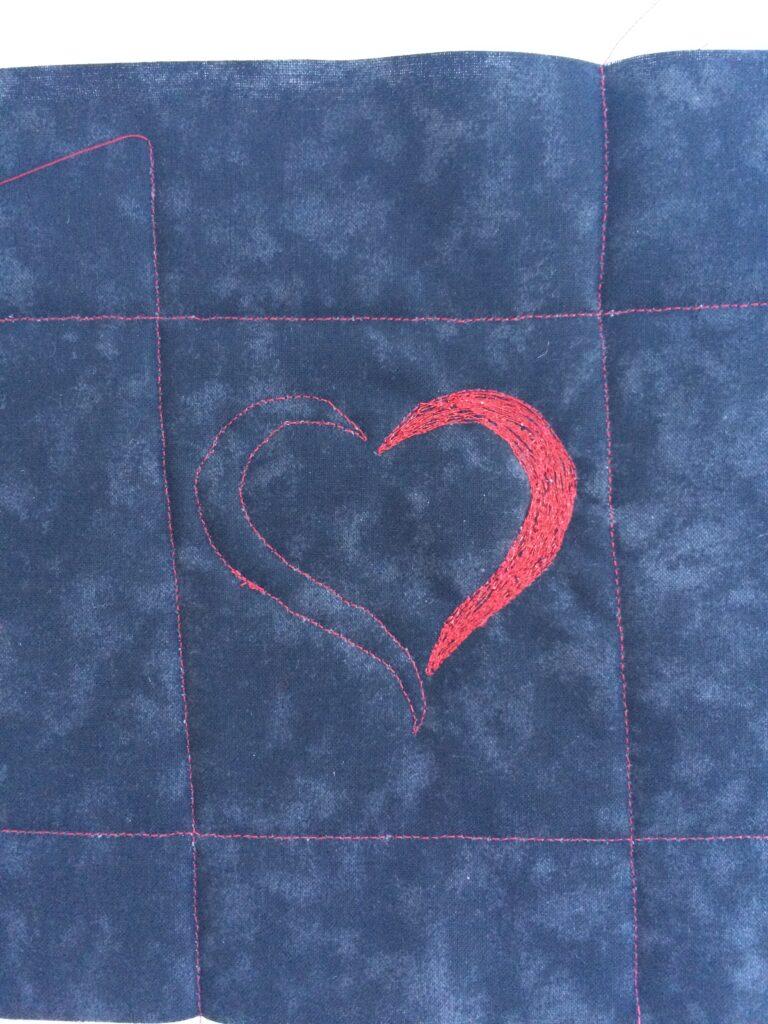 Patroon lijnen en het eerste deel van het hartje met Spotlite