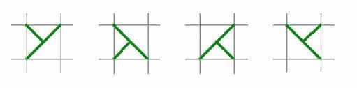driekwartkruisstekenrij