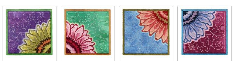 4 Bij elkaar behorende borduurwerken