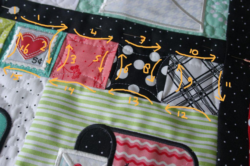 Een rij vierkantjes op volgorde quilten