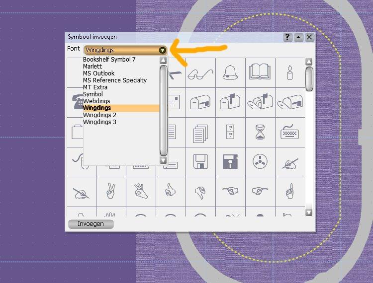 Pull down menu voor meerdere symbolen