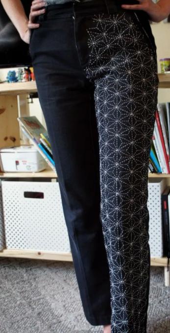Sashiko met naaimachine - voorbeeld