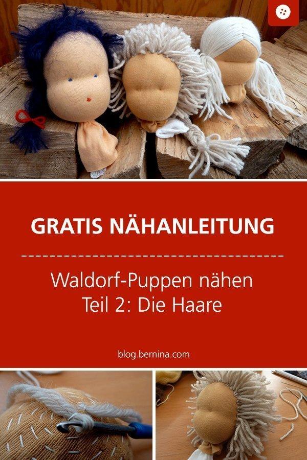 Kostenlose Nähanleitung für eine Waldorf-Puppe Schritt für Schritt erklärt : Haare nähen