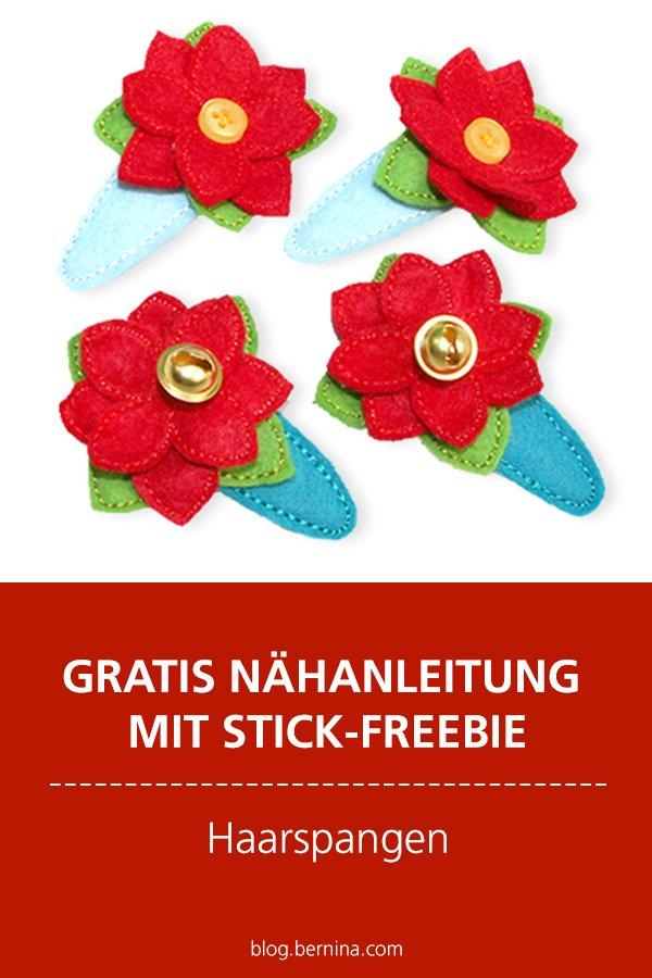 Kostenlose Anleitung mit Stickdatei Freebie: Haarspangen aus Filz