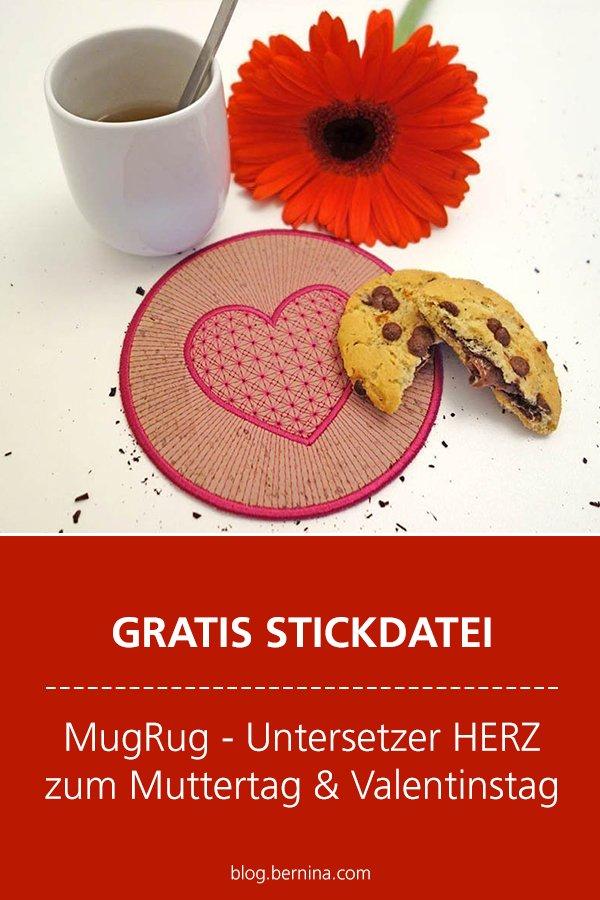 Gratis Stick-Datei: MugRug / Untersetzer mit Herz