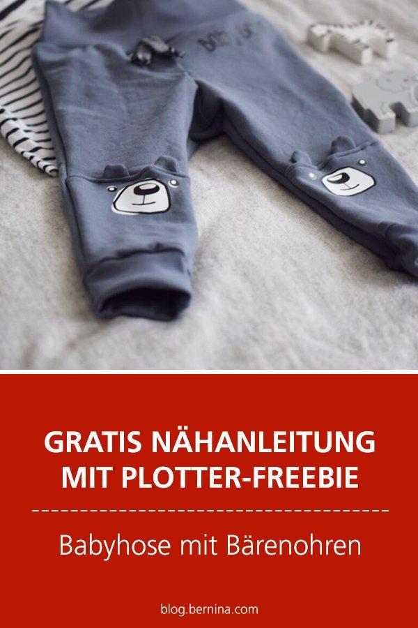 Kostenlose Nähanleitung mit Plotter-Freebie: Babyhose mit Bärenohren