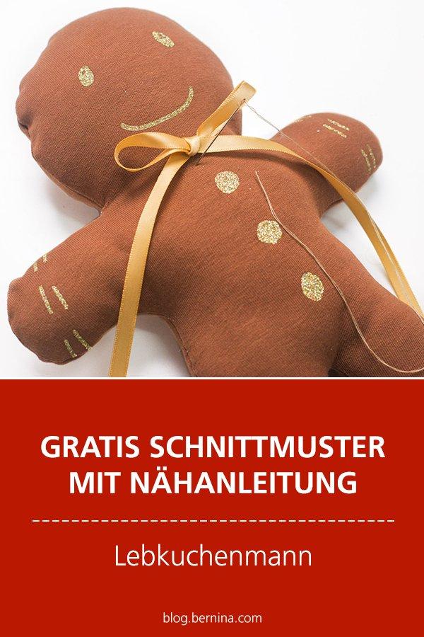 Gratis Schnittmuster mit Nähanleitung (Freebook): Lebkuchenmann als Weihnachtsdeko nähen