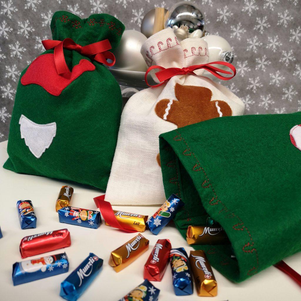 Genähte Weihnachts-Säckli mit Munz Schokolade