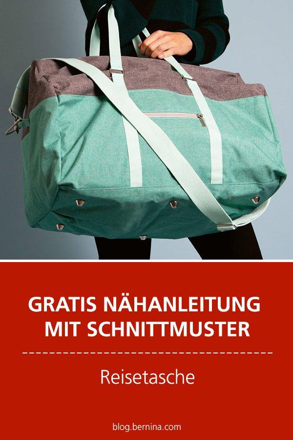 Kostenlose Anleitung mit Schnittmuster Freebie: Reisetasche nähen