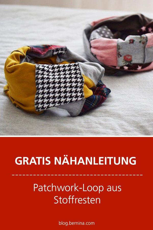 Kostenlose Nähanleitung: Patchwork-Loop aus Stoffresten