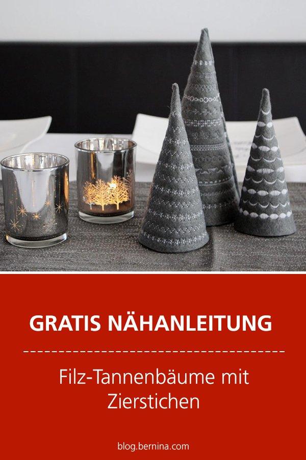 Kostenlose Nähanleitung: Filz-Tannenbäume mit Zierstichen für die Weihnachtstafel