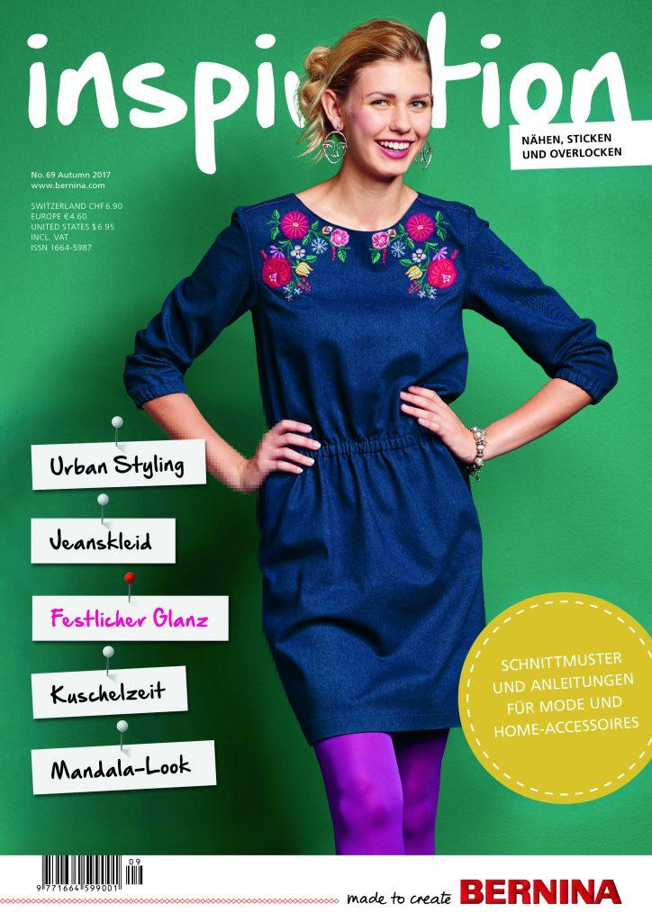"Cover der BERNINA inspiration 69 - mit Jeanskleid ""Kim"""