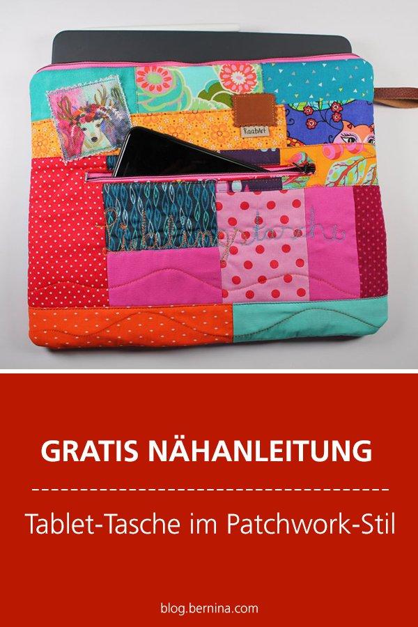 Kostenlose Nähanleitung: Tablet-Tasche im Patchwork-Stil nähen