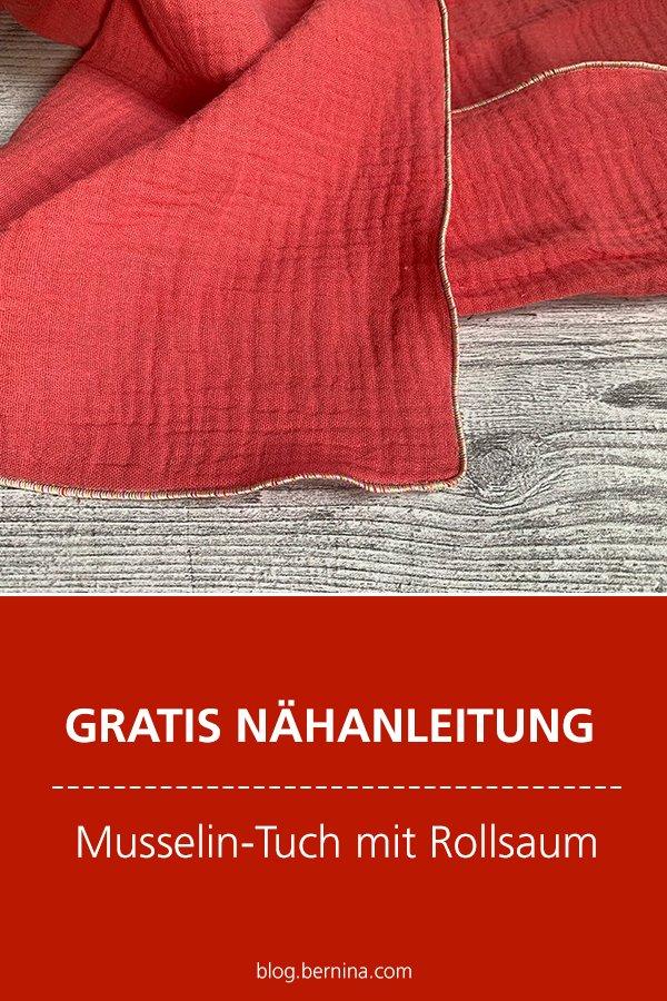 Kostenlose Nähanleitung: Musselin-Halstuch mit Rollsaum