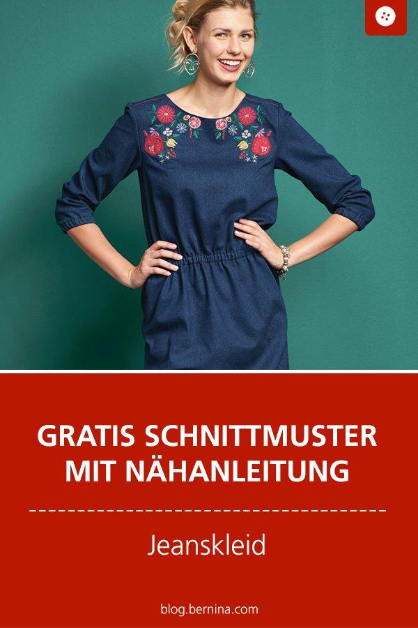 Gratis Schnittmuster mit Nähanleitung (Freebook): Jeanskleid mit Stickerei