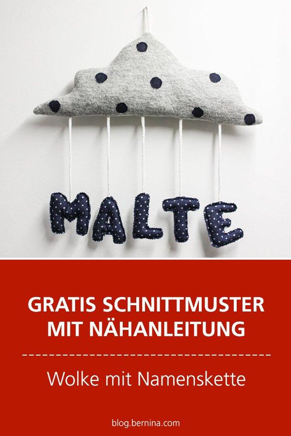 Gratis Schnittmuster mit Nähanleitung (Freebook): Wolke mit Namenskette