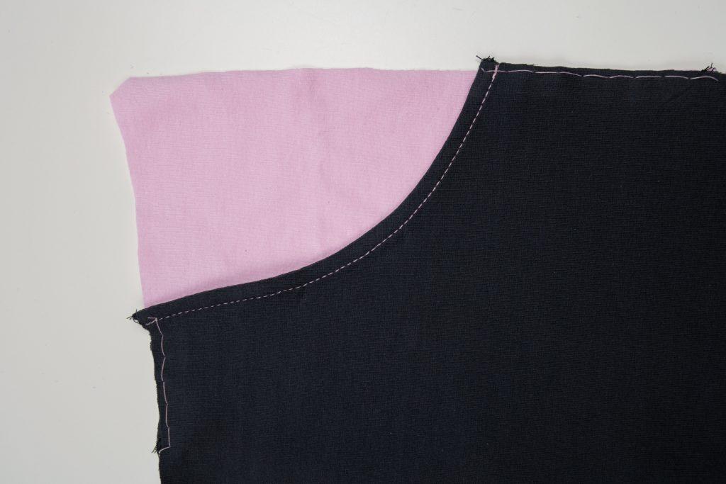fertige Taschenbeutel mit Heftstich fixieren