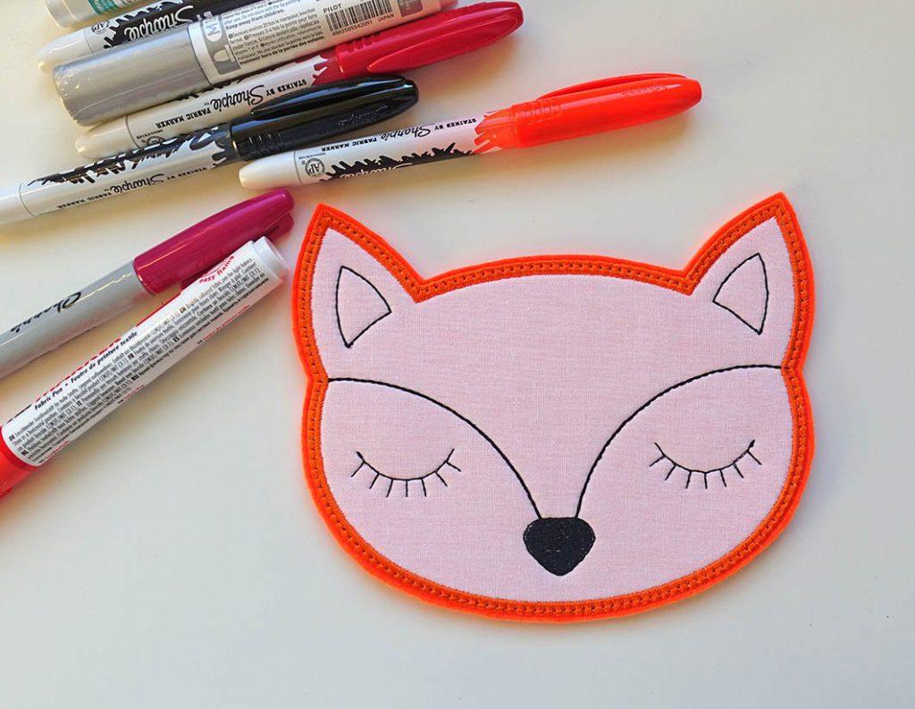 Kostenloses Stickmuster: Fuchs Kopf anmalen
