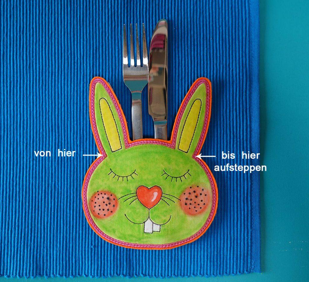 Kostenloses Stickmuster: Idee für Tischset mit Hase
