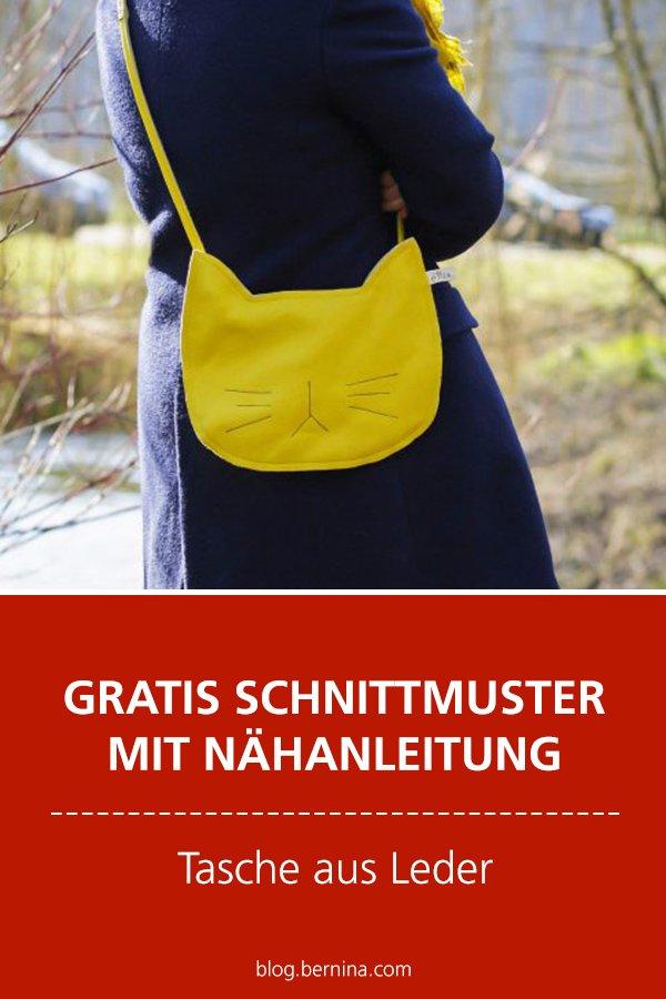 Gratis-Schnittmuster & Nähanleitung: Katzen-Tasche aus Leder