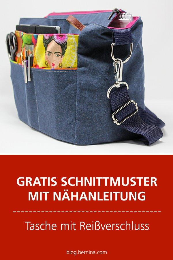 Gratis-Schnittmuster & Nähanleitung: Geräumige Tasche mit Reißverschluss