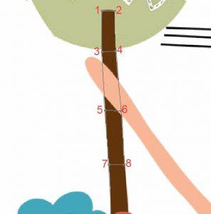Stickmuster erstellen: Der Baumstamm in der vergrösserten Ansicht