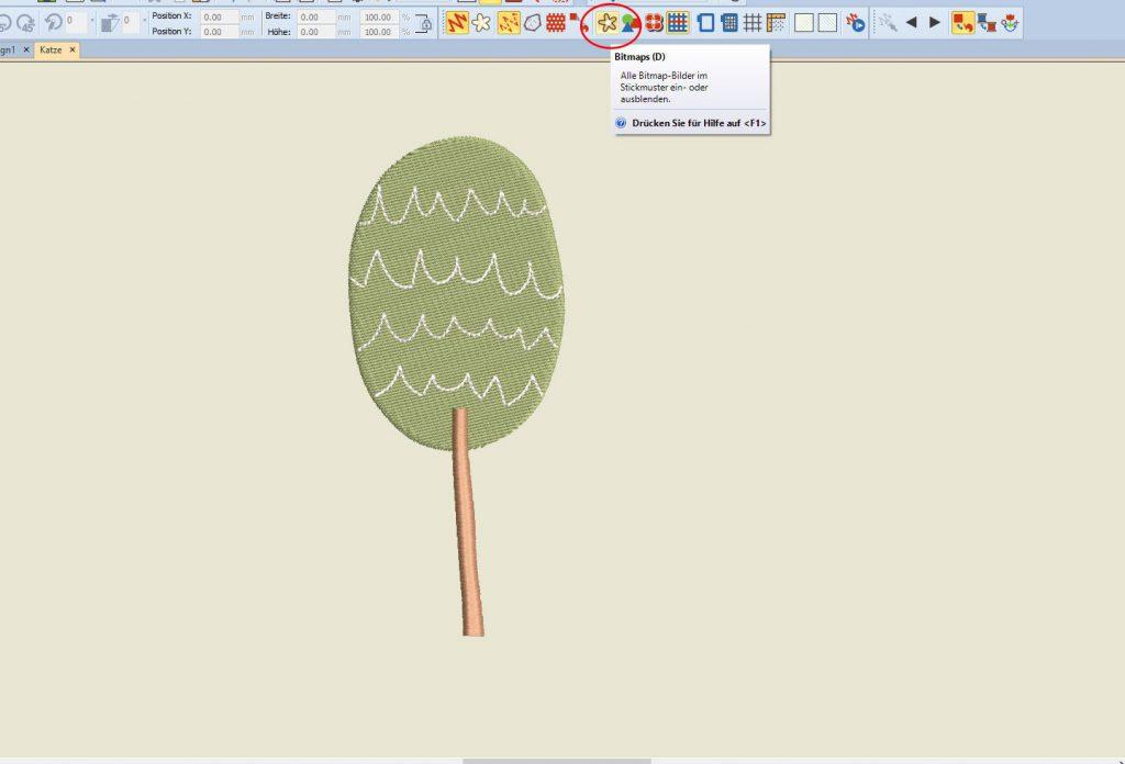 Stickmuster erstellen: der Baum mit Bögen ist fertig