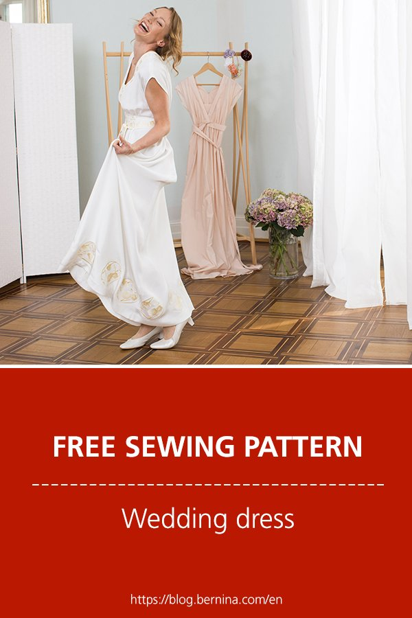 Free sewing pattern and instructions for a beaufiful wedding dress (designed by Kazu Huggler)