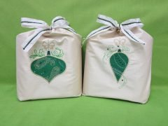 Sewing beautiful embroidered fabric gift wraps