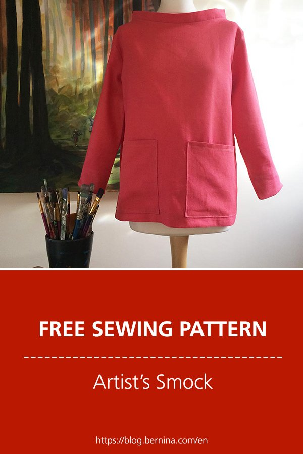 Free sewing pattern and instructions for an artist's smock