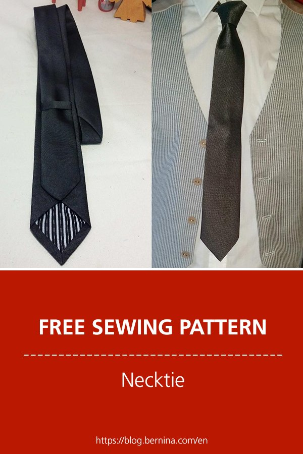 Free sewing pattern and instructions for a necktie