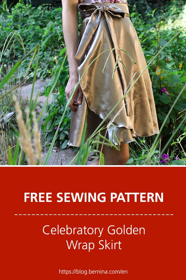 Free sewing pattern and instructions for a celebratory golden wrap skirt
