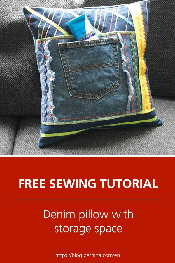 Free sewing instructions: Denim pillow with storage space