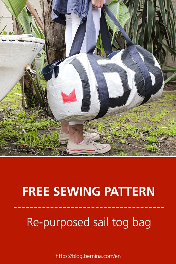 Free sewing pattern and instructions for re-purposed sail tog bag