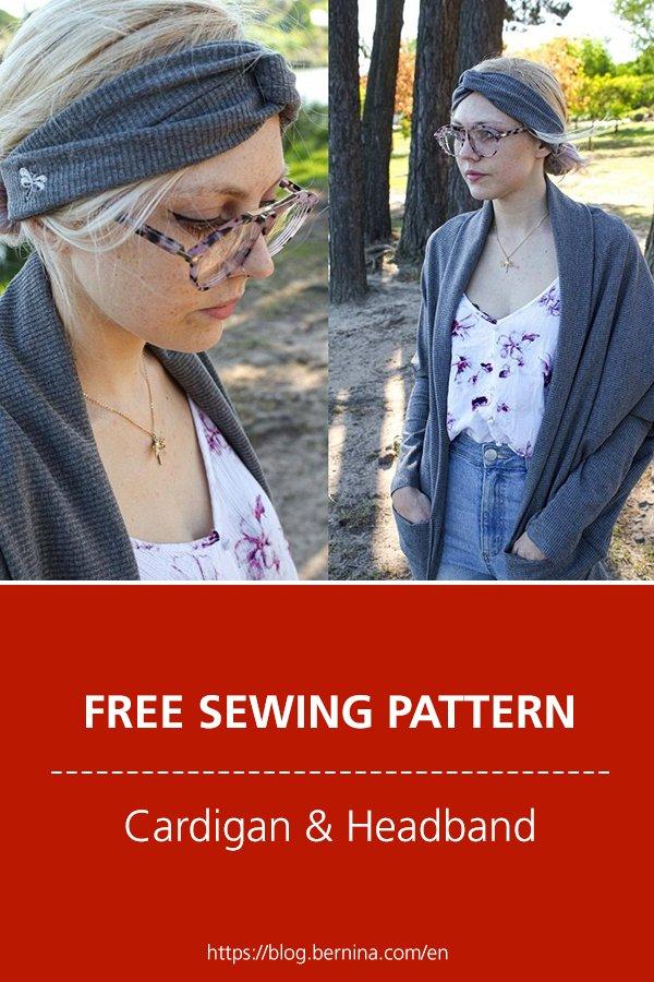 Free sewing pattern and instructions for a beautiful cardigan and matching headband #sewing #sewingprojects #sewingpattern #cardigan #headband #freepattern #freebie  #bernina