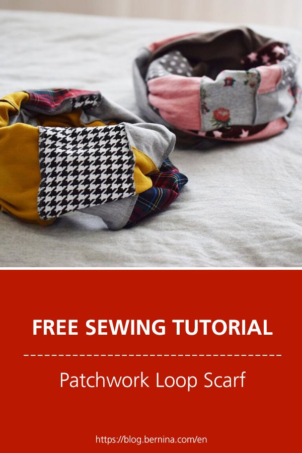Free sewing instructions for beautiful patchwork loop scarves made of fabric remnants