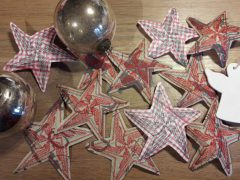 Making embroidered stars out of recycled shopping bags