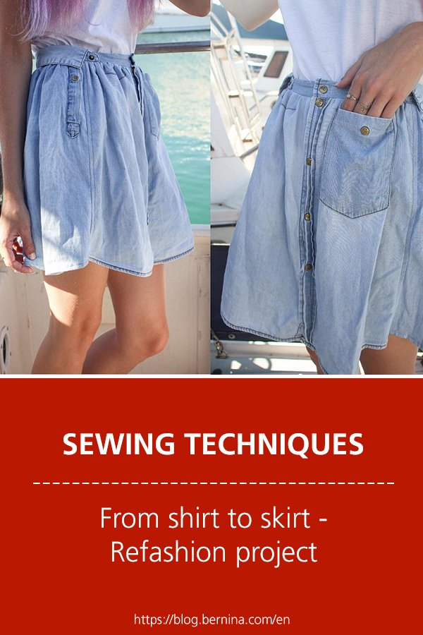 Free sewing instructions: From shirt to skirt (Refashion project)