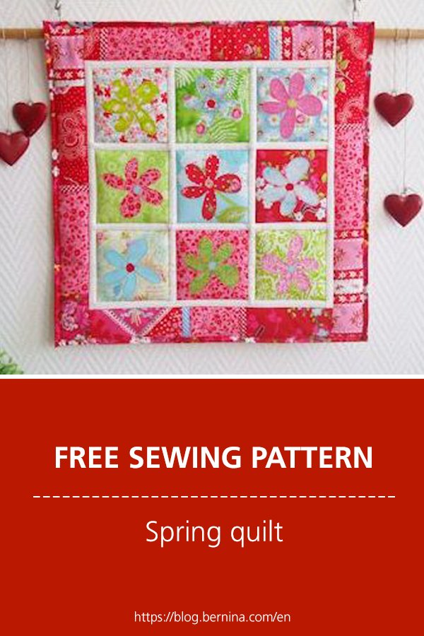 Free sewing instructions: Spring quilt with flower appliqués